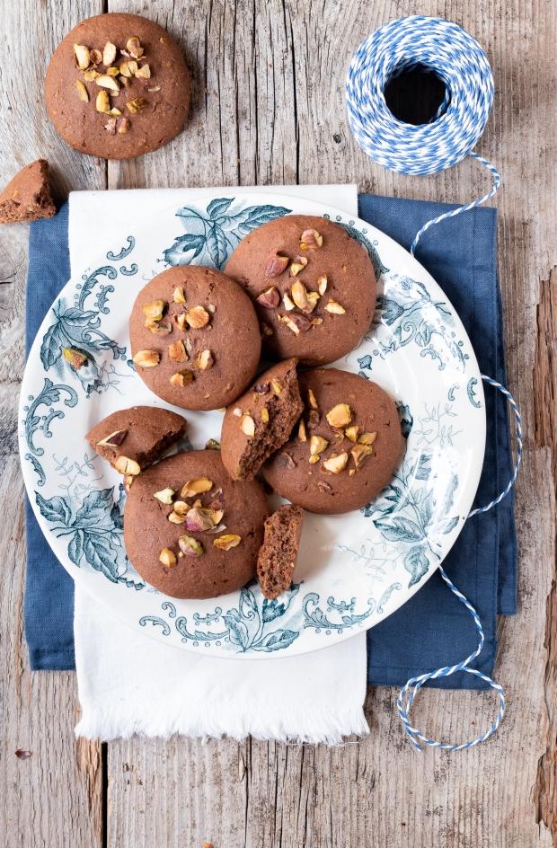 biscotti morbidi al cacao e pistacchi